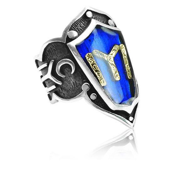 Dirilis Ertugrul KAYI IYI Zihgir Blue Ring Mina 925 Sterling SILVER Men's  Thumb Ring